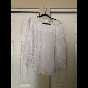 Loft white eyelet blouse